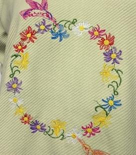 Sudadera bordada flores y pájaros