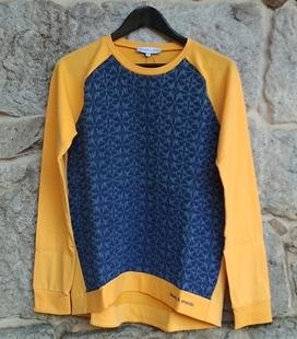Sudadera algodon amarillo y vaquero bordado