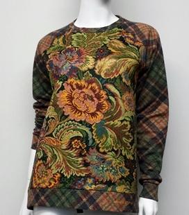 Sudadera cuadros y delantero tapiz flores