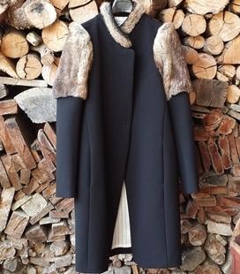 Abrigo neopreno y piel natural