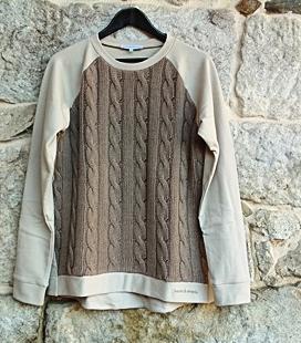 Sudadera felpa algodón ecológico topo y punto de ochos