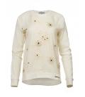 Sudadera algodón ecológico blanco y red con flores bordadas