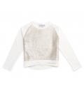 Sudadera algodón ecológico blanco y lentejuelas mágicas niña