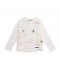 Sudadera algodón ecológico blanco y red con flores bordadas niña